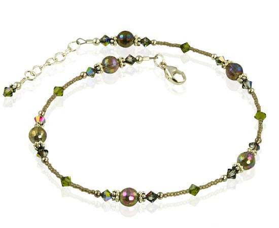 Vitrail Olive Crystal Quartz Anklet - SWCreations