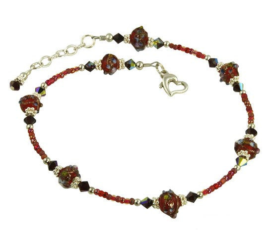 Red Rose Crystal Beaded Anklet - SWCreations