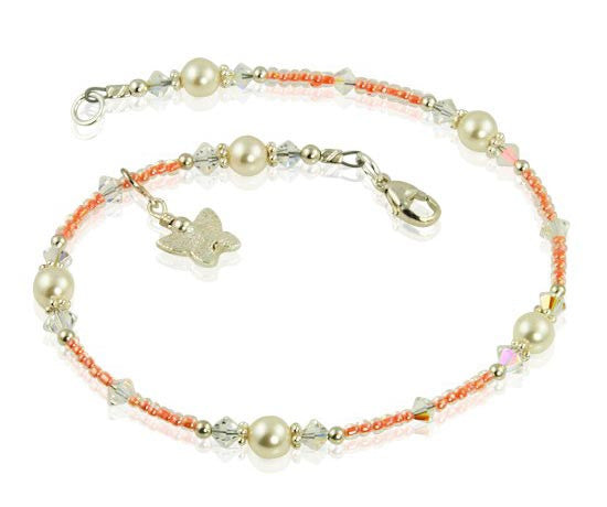 Tangerine Butterfly Crystal Beaded Anklet Swcreations