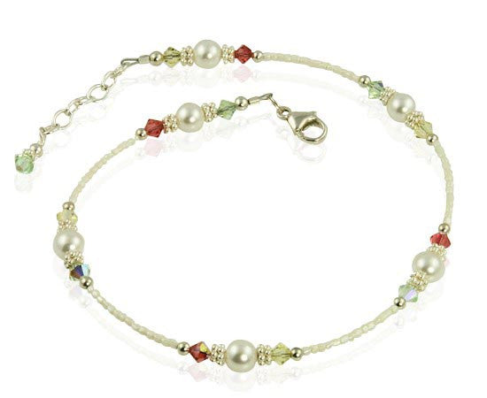 Spring Pearl Mix Crystal Beaded Anklet - SWCreations
