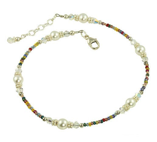 Rainbow Crystal Pearl Beaded Anklet - SWCreations