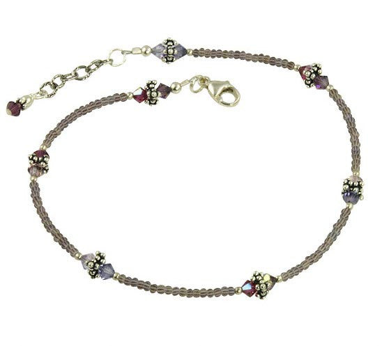 Alluring Purple Crystal Beaded Anklet - SWCreations