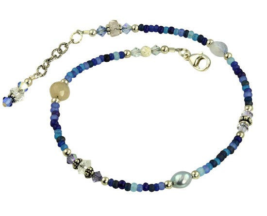 Winter Blue Crystal Beaded Anklet - SWCreations