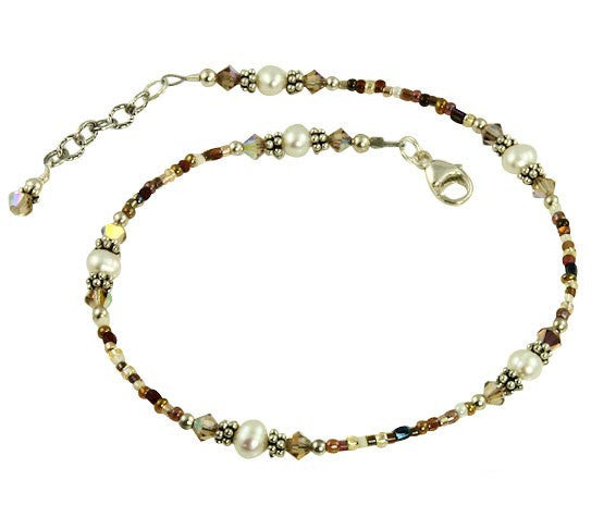 Light Topaz Crystal Pearl Beaded Anklet - SWCreations