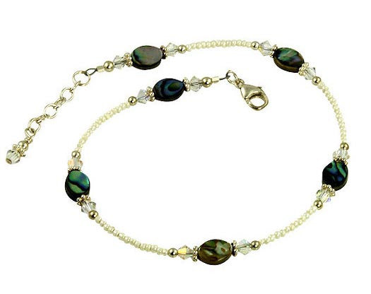 Abalone Shell Cream Crystal Beaded Anklet - SWCreations