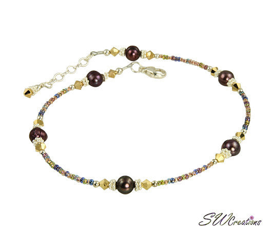 Gold Crystal Purple Pearl Beaded Anklet - SWCreations