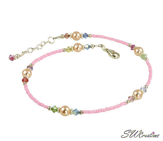 Pink Peach Pearl Beaded Anklet - SWCreations
