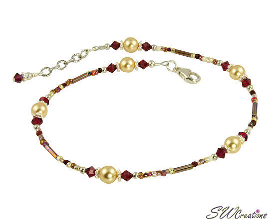 Ruby Gold Pearl Beaded Anklet - SWCreations
