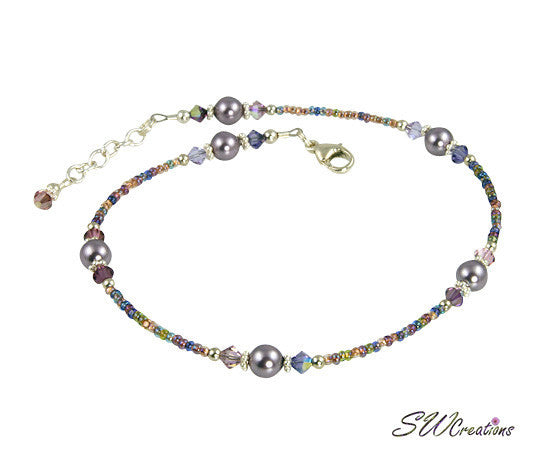 Purple Crystal Mauve Pearl Anklet - SWCreations