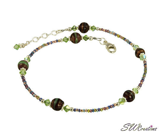 Peridot Amethyst Swirl Beaded Anklet - SWCreations