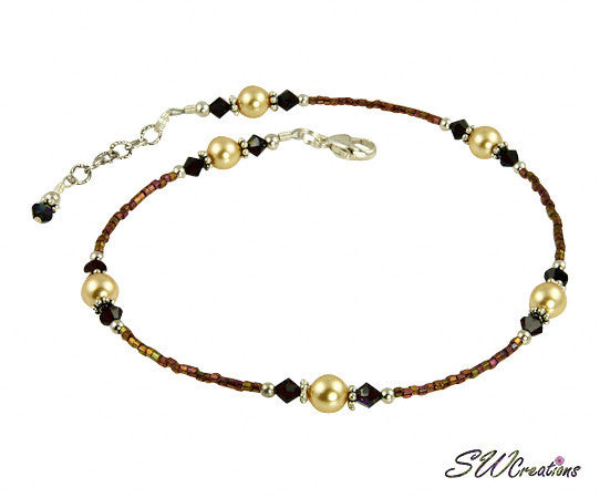 Garnet Gold Crystal Pearl Beaded Anklet - SWCreations