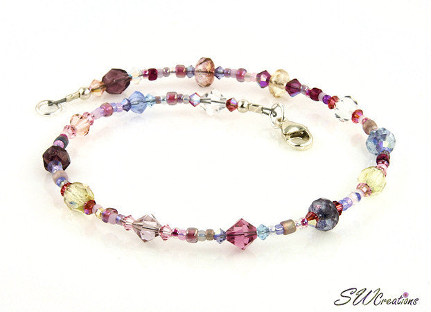 Rose Petal Floral Cascade Crystal Anklet - SWCreations