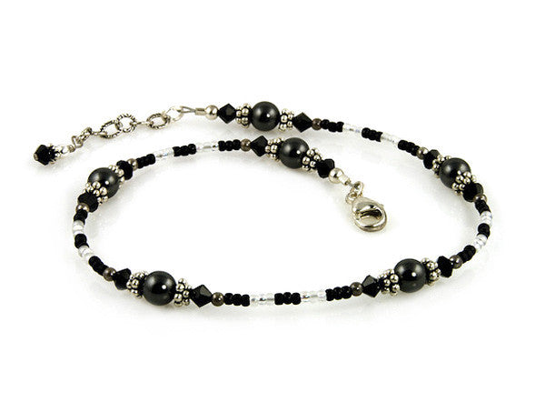 Jet Black Crystal Pearl Beaded Anklet - SWCreations