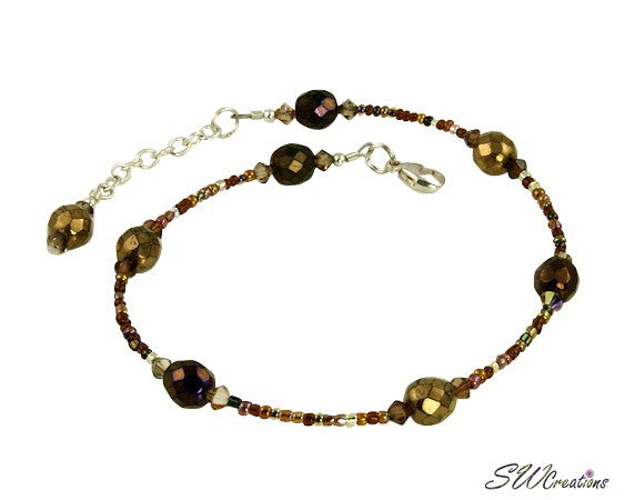 Topaz Czech Crystal Beaded Anklet - SWCreations