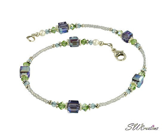 Sylvan Beauty Lilac Flower Bouquet Anklet - SWCreations