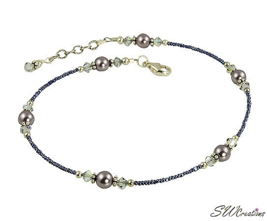 Shadow Crystal Mauve Pearl Anklet - SWCreations