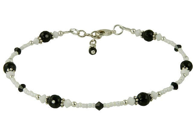 Noir et Blanc Gemstone Beaded Anklet - SWCreations