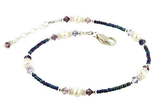 Blue Purple Crystal Mix Beaded Anklet - SWCreations