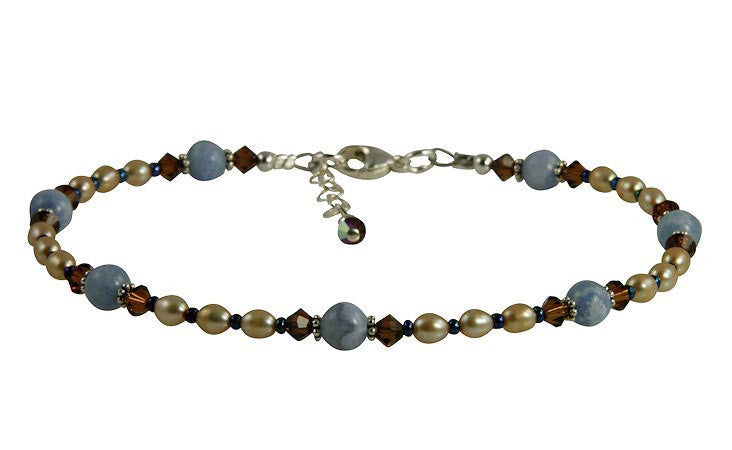 Topaz Blue Lace Agate Gemstone Beaded Anklet - SWCreations