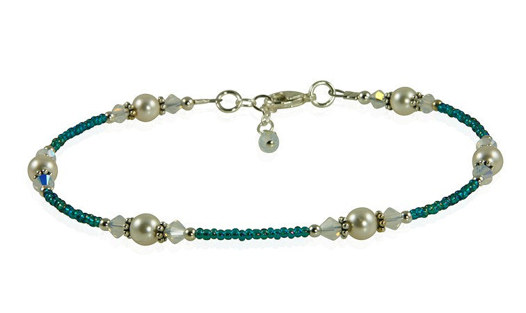 Opal Teal Crystal Pearl Beaded Anklet - SWCreations