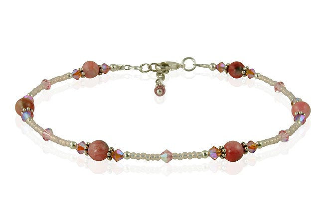 Orchid Peach Jade Gemstone Beaded Anklet - SWCreations  - 1