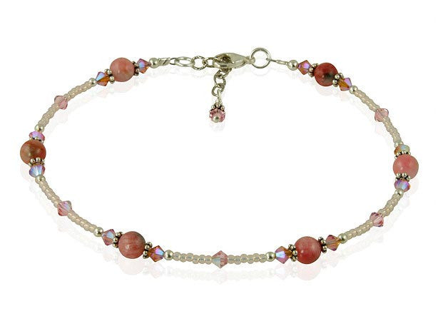 Orchid Peach Jade Gemstone Beaded Anklet - SWCreations  - 2