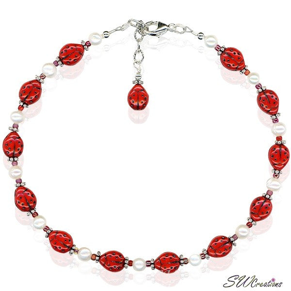 Ladybug Glass Pearl Beaded Anklet - SWCreations