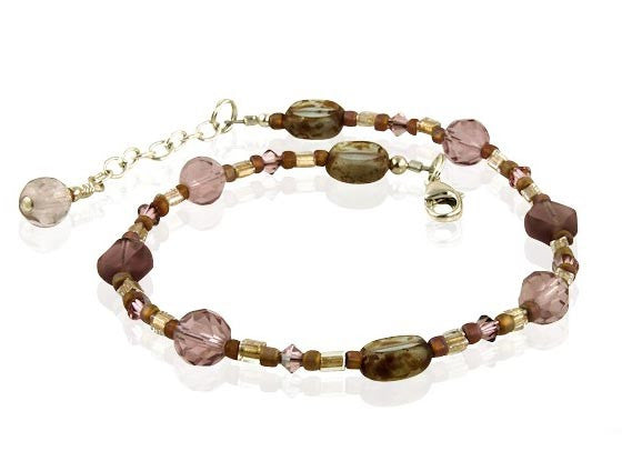 Satin Rose Topaz Beaded Anklet - SWCreations