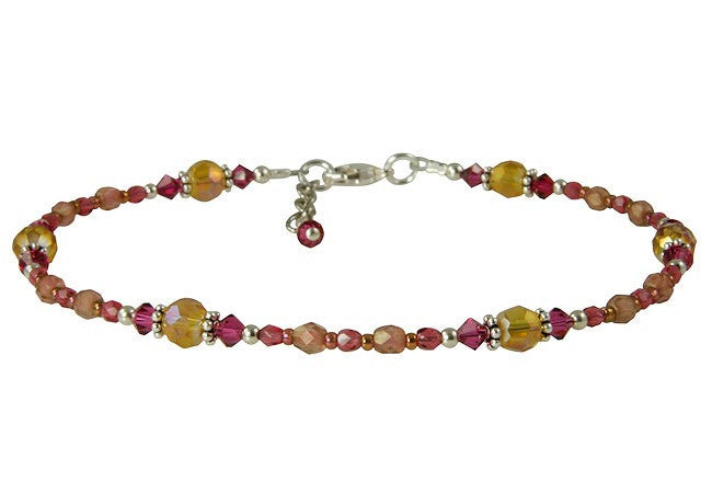 Blissful Amber Fuchsia Pink Beaded Anklet - SWCreations