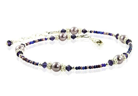 Violet Mauve Crystal Beaded Anklet - SWCreations