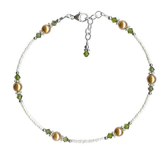 Olive Gold Pearl Beaded Anklet - SWCreations