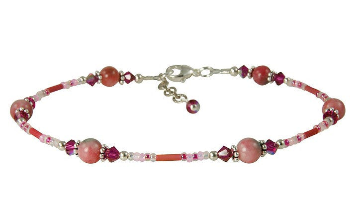 Fuchsia Pink Jade Beaded Anklet - SWCreations