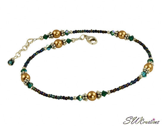 Alluring Emerald Dark Gold Beaded Anklet - SWCreations