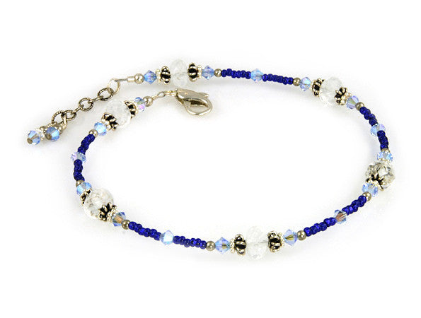 Sapphire Pacific Dolphin Crystal Anklet - SWCreations