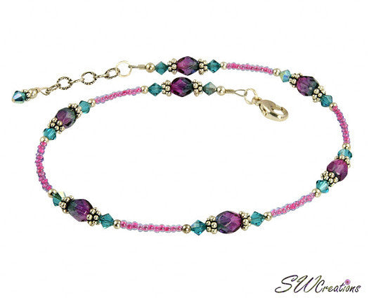Blue Zircon Pink Crystal Beaded Anklet - SWCreations