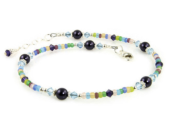 Blue Purple Crystal Beaded Anklet - SWCreations