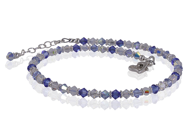 Aurora - Something Blue Beaded Crystal Anklet - SWCreations  - 1