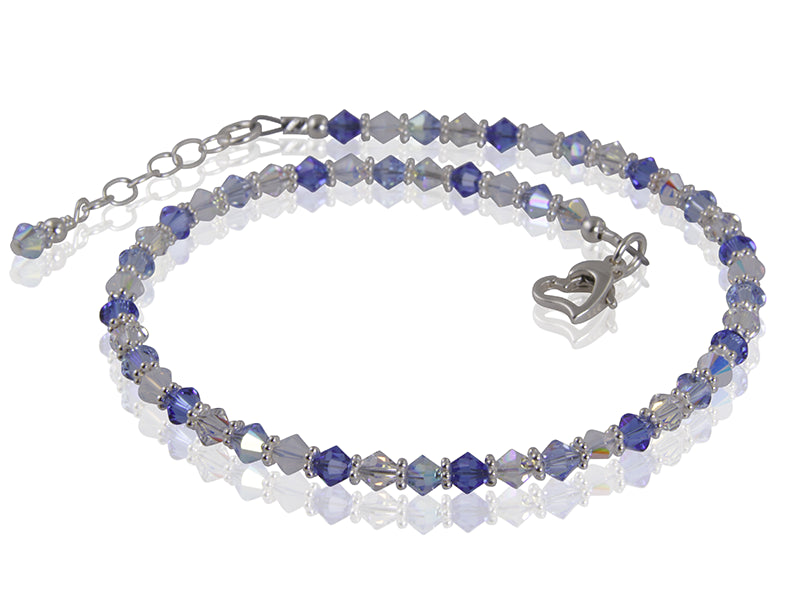 Aurora - Something Blue Beaded Crystal Anklet - SWCreations