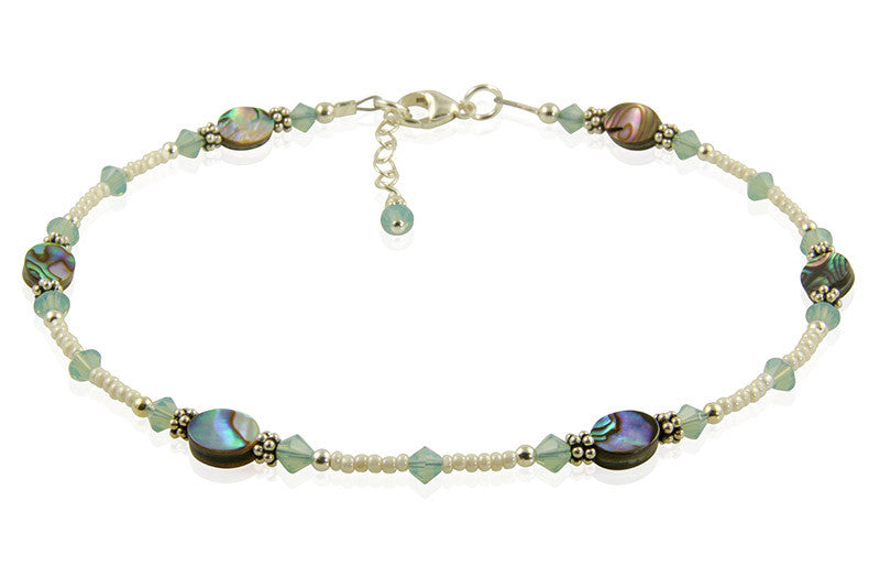 Pacific Opal Green Abalone Shell Anklet - SWCreations