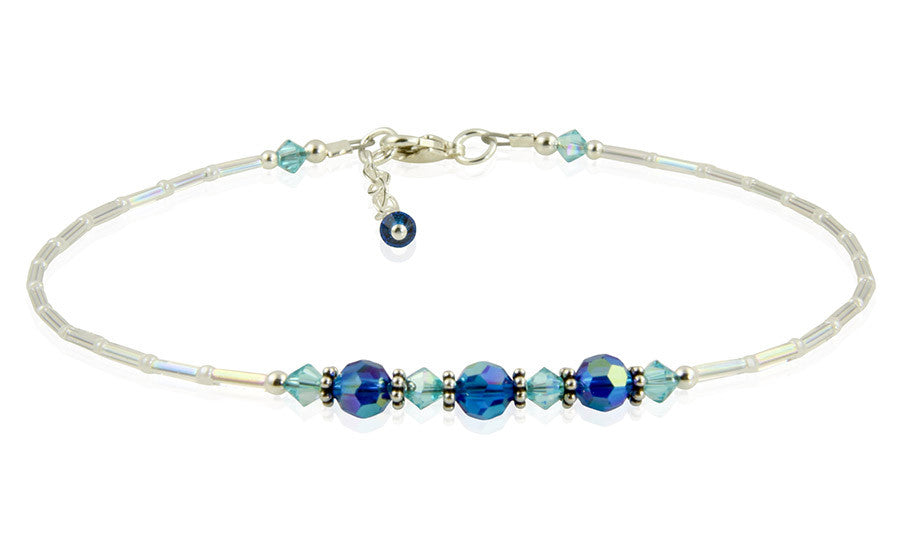 Ocean Blue Crystal Beaded Anklet - SWCreations