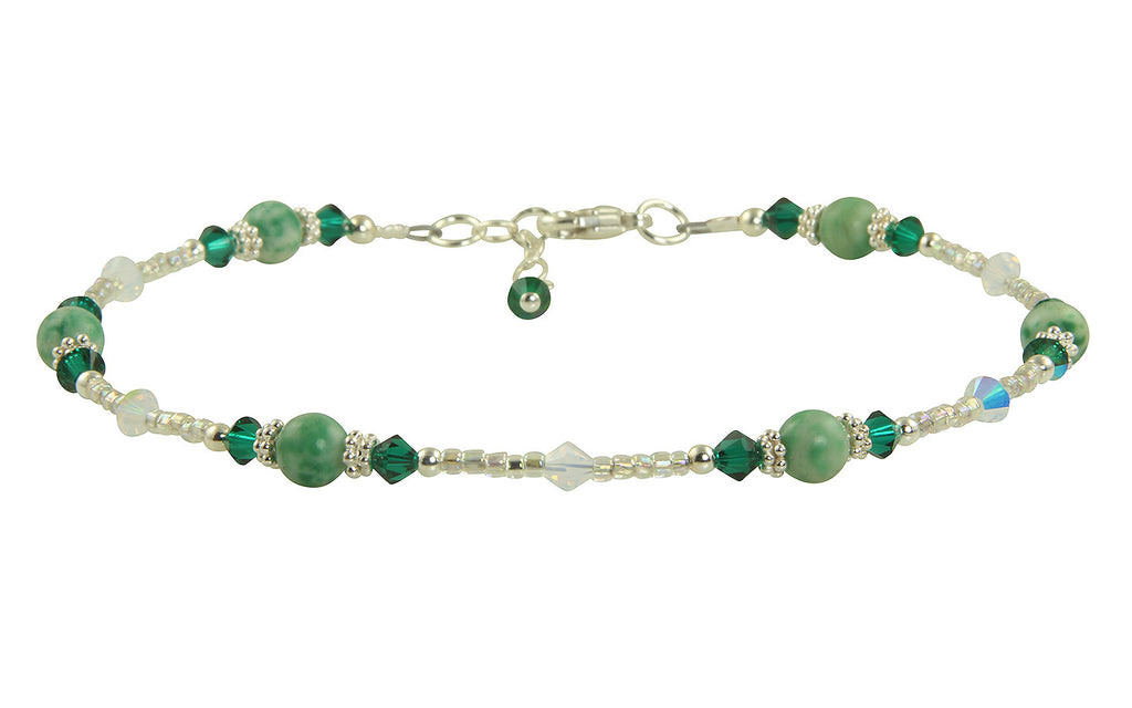 Emerald Green Jade Beaded Anklet