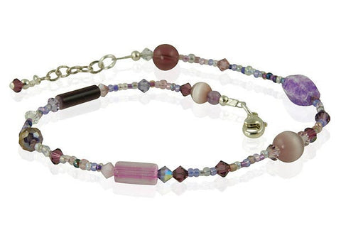 Crystal Lavender Glass Beaded Anklet - SWCreations
