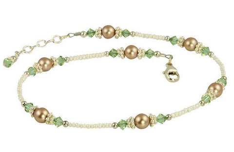 Cantaloupe Crystal Almond Beaded Anklet - SWCreations