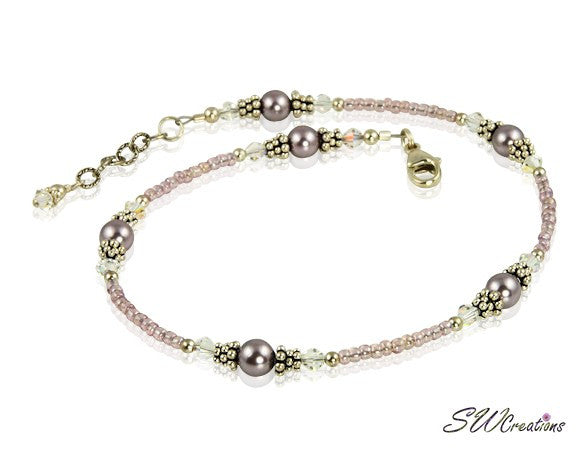 Mauve Crystal Pearl Beaded Anklet - SWCreations