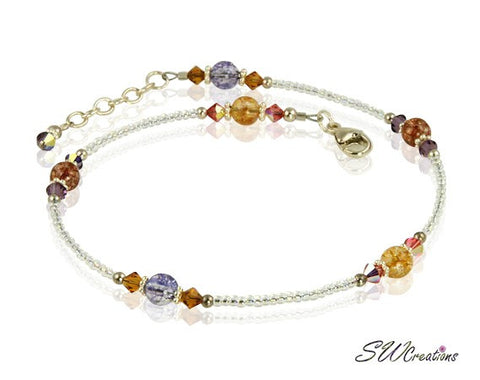 Golden Crackle Crystal Beaded Anklet - SWCreations