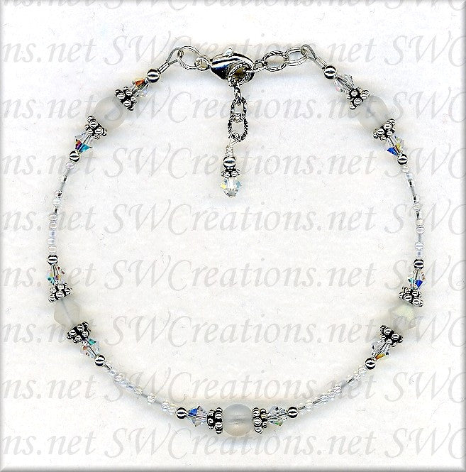 White Czech Crystal Frosted Anklet - SWCreations
