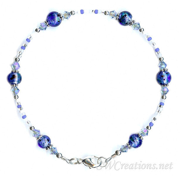 Sapphire Brilliance Shimmer Glass Crystal Anklet - SWCreations
