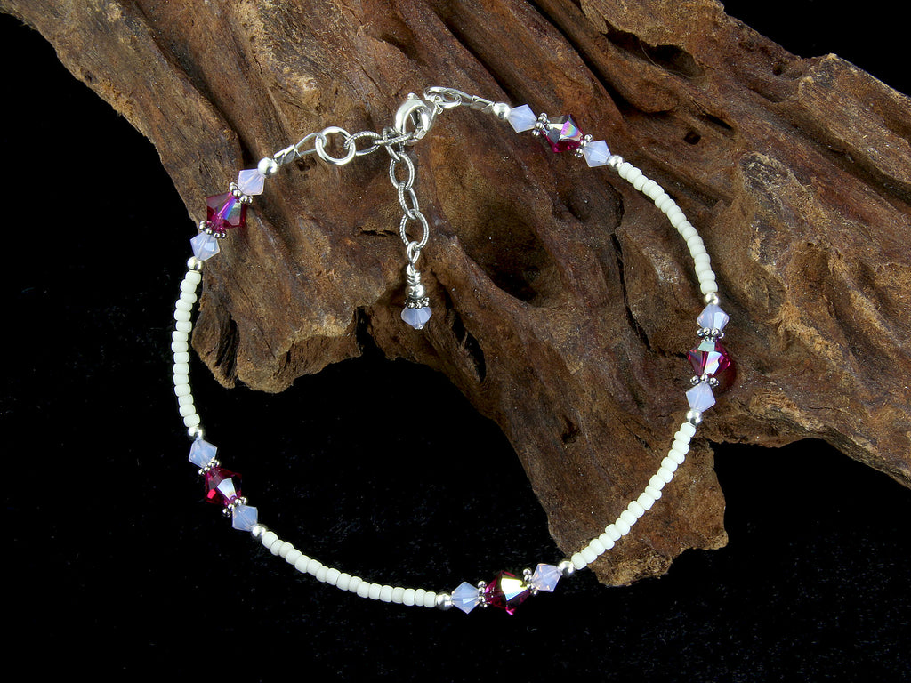 Dazzling Violet Opal Fuchsia Crystal Anklet