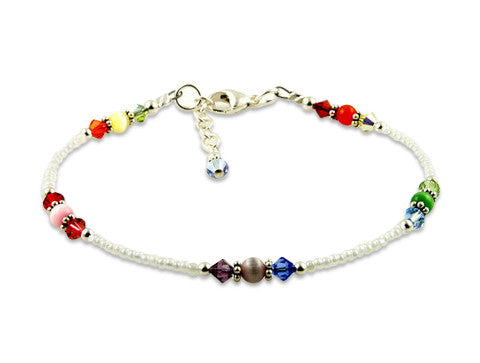 White Rainbow Cats Eye Crystal Anklet - SWCreations