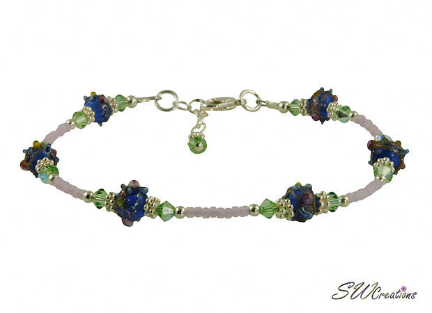 Blue Cobalt Peridot Lavender Beaded Anklet - SWCreations